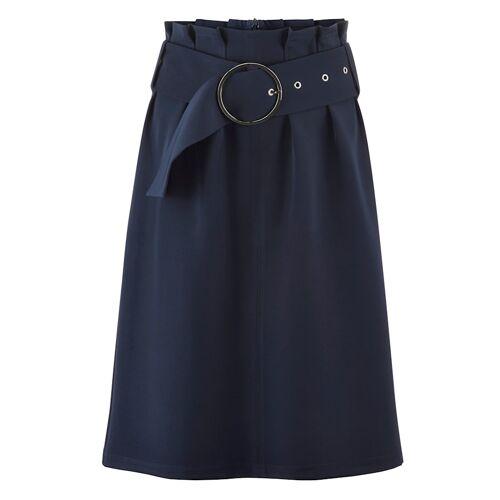 Alba Moda Rock mit Gürtel und breiter Schnalle, blau