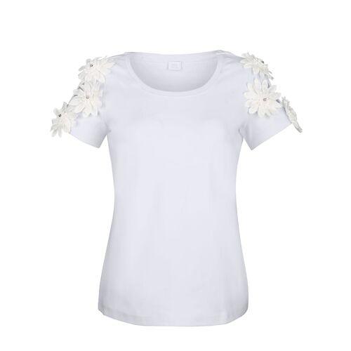 Alba Moda Shirt mit aufgesetzten 3D-Blüten am Arm, weiß