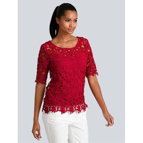 Alba Moda Bluse aus femininer Spitze, rot