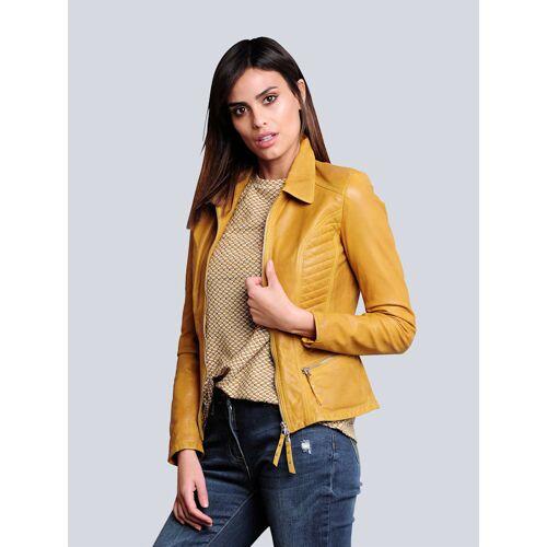 Alba Moda Lederjacke aus hochwertigem Lammnappa, gelb