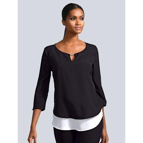 Alba Moda Bluse im modischen Lagenlook, schwarz