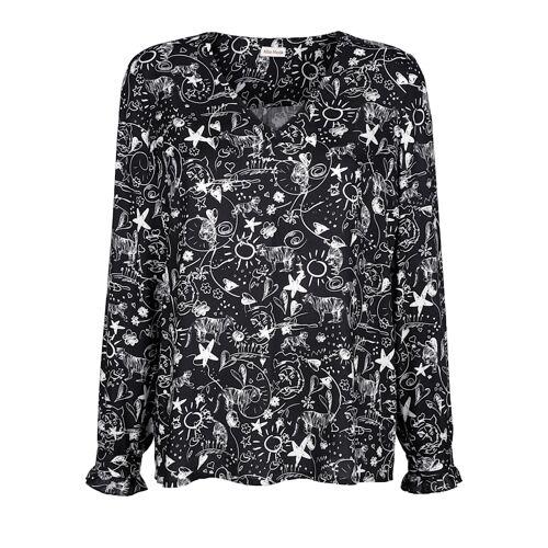 Alba Moda Bluse im modernen Allover-Druck, schwarz