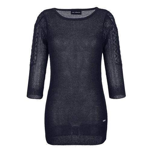 AMY VERMONT Pullover mit transparenter Spitze am Ärmel, blau