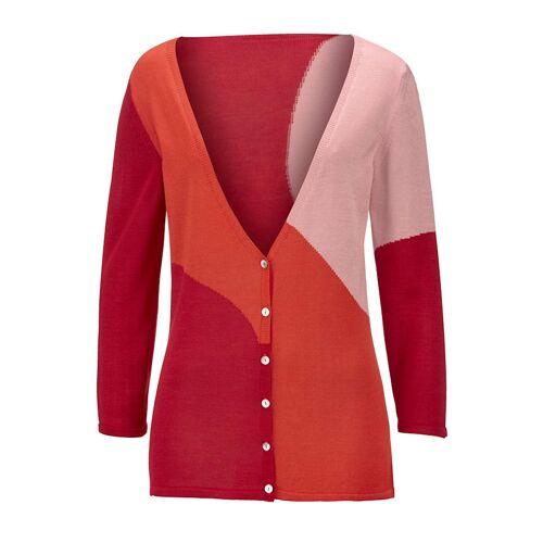 Alba Moda Strickjacke im modischen Colour-Blocking, rot