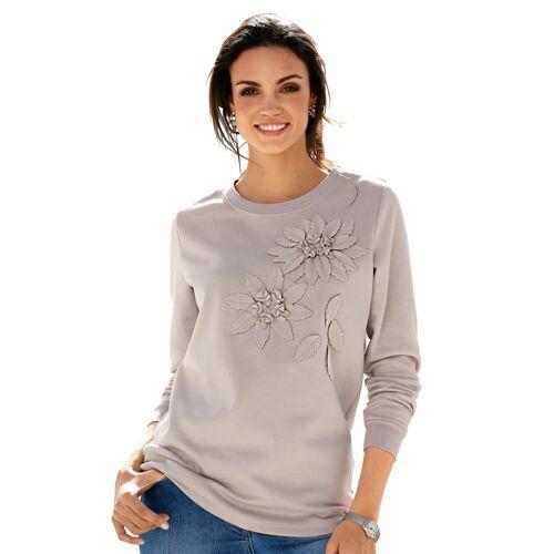 AMY VERMONT Sweatshirt mit Dekoblumen im Vorderteil, beige