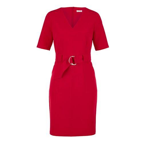 Alba Moda Kleid mit feinen Ton in Ton- Steppnähten, rot