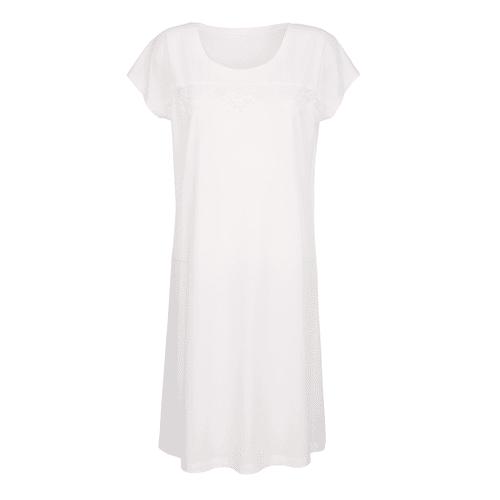 Simone Nachthemd mit elegantem Spitzeneinsatz, weiß