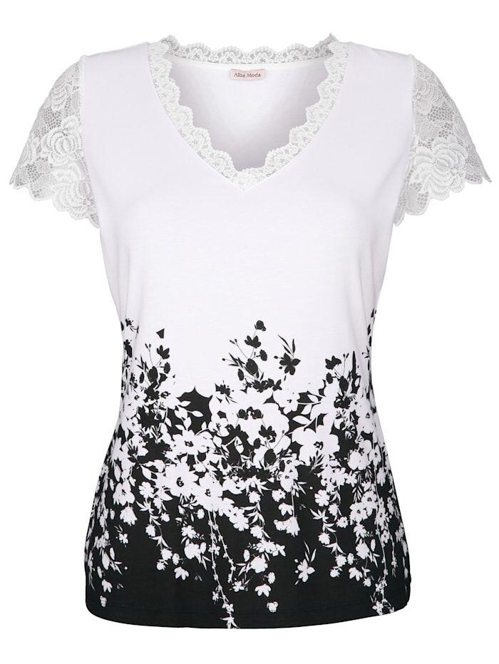 Alba Moda Shirt mit floralem Druck, weiß