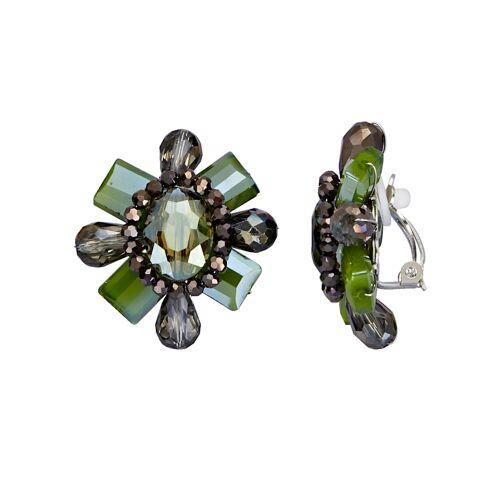 albamoda.de Ohrclips mit Glassteinen, grün