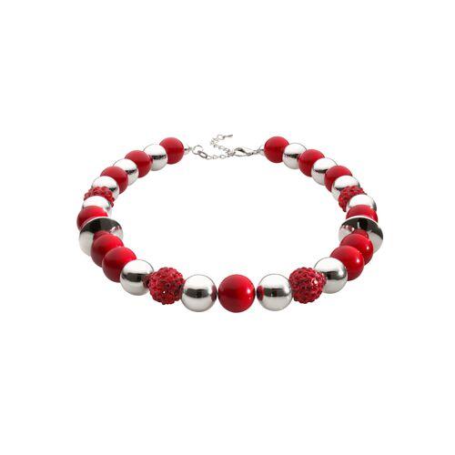albamoda.de Halskette mit Kugeln, rot