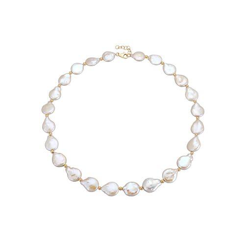 Diemer Perle Halskette aus Biwa-Perlen, weiß