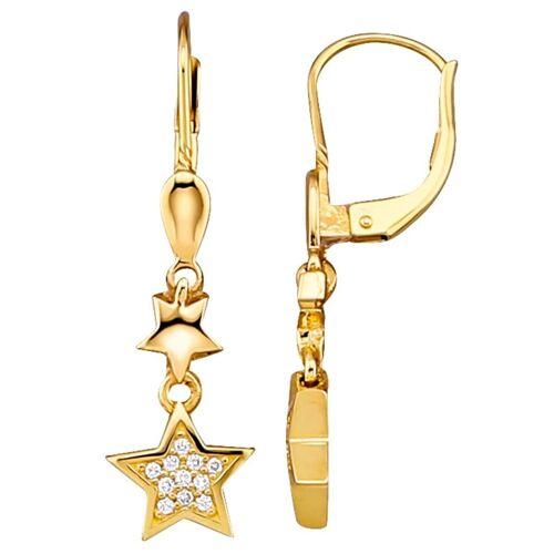 Diemer Highlights Stern-Ohrringe mit Brillanten, gelb