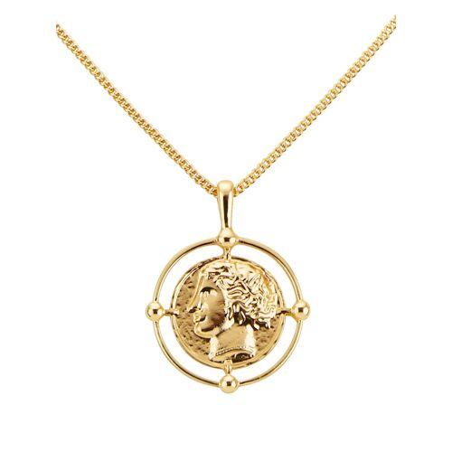 albamoda.de Anhänger mit Münze und Kette, gold