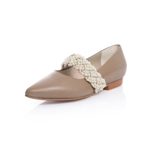 Alba Moda Ballerina aus hochwertigem Leder, beige