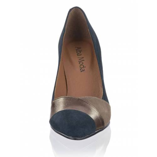 Alba Moda Pumps mti Spitze in Color Blocking, blau