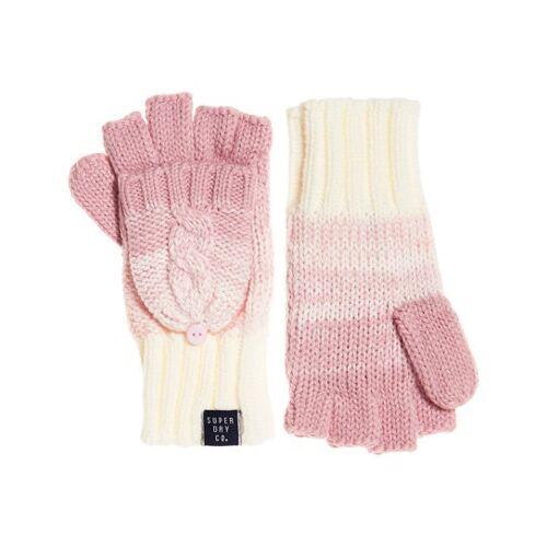Superdry Fingerlose Clarrie Handschuhe mit Zopfmuster 1SIZE pink