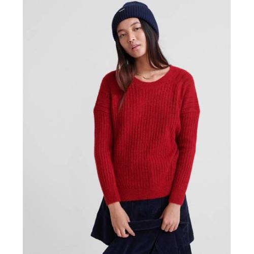 Superdry Gerippter Aimee-Pullover 44 rot
