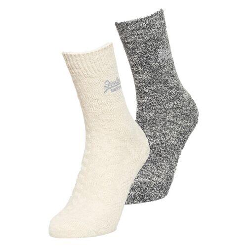 Superdry Socken mit Zopfmuster im 2er-Pack 1SIZE grau