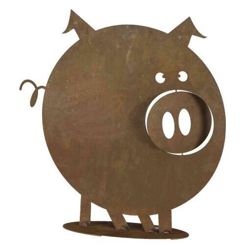 H.G-Deko Schwein Gustav auf Platte 0x49x0cm Stahlblech