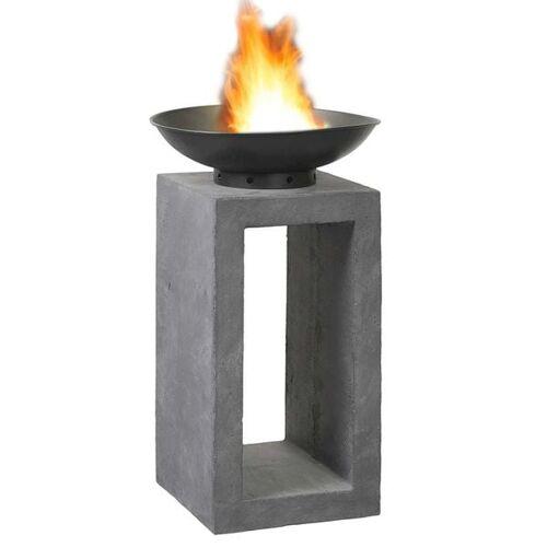 OUTLIV. Feuerschale auf Säule Clayfibre Dunkelgrau