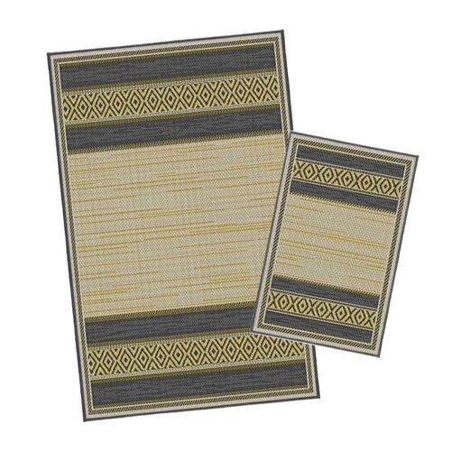 Korhani Gimli Outdoorteppich-Set 160x213 cm + 80x112 cm Schwarz Natur Gelb Mehrfarbig