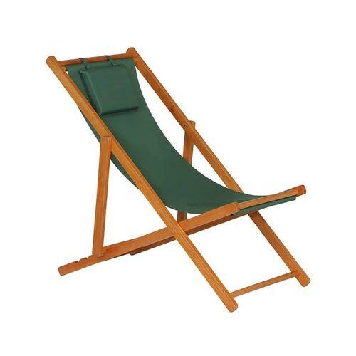 Siena Garden Faro Beach-Liegestuhl Holz/Textilene Braun Grün