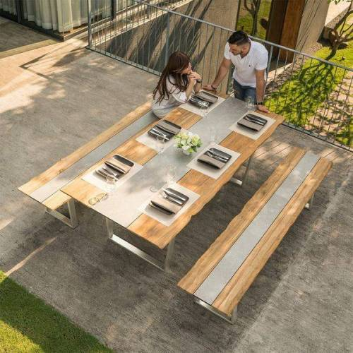 Zebra Unyx Gartenmöbelset 3-teilig mit Gartentisch 220x100cm Braun