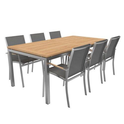 OUTLIV. Oviedo Gartenmöbelset 8-teilig Stapelsessel mit OUTLIV. Tisch 200x100 cm Hellgrau