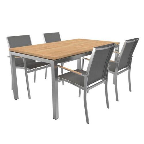 OUTLIV. Oviedo Gartenmöbelset 6-teilig Stapelsessel mit OUTLIV. Tisch 160x90 cm Hellgrau