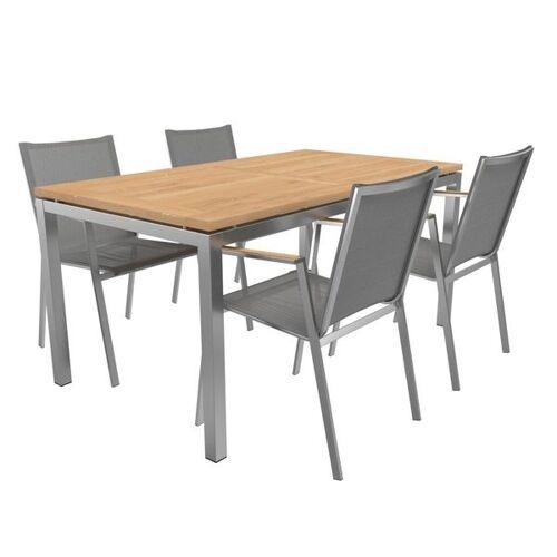 OUTLIV. Porto Gartenmöbelset 6-teilig Stapelsessel mit OUTLIV. Tisch 160x90 cm Braun Hellgrau