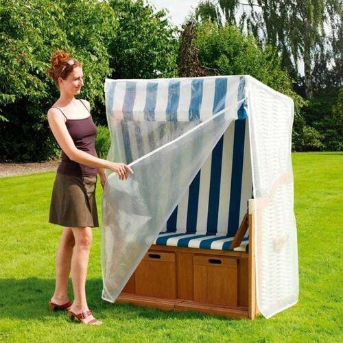 Heinemeyer Schutzhülle für Strandkorb 130x90x163/132cm, Gitterfolie transparent Weiß