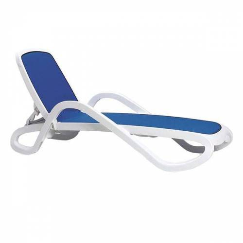 Nardi Alfa Gartenliege Kunststoff/Textilene Weiß Blau