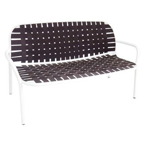 Emu Yard 2-Sitzerbank 139cm Aluminium/Gurtbespannung Braun