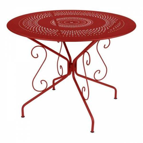 Fermob Montmartre Gartentisch Ø96 cm Stahl Rot