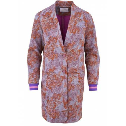 Rich & Royal RICH&ROYAL Langarm Mantel angesetzter Schalkragen Muster mandarin/grau