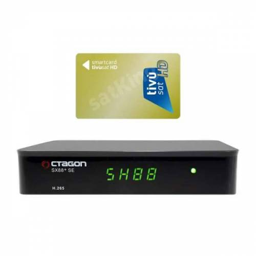 Octagon SX88+ SE CA HD HEVC Full HD DVB-S2X Sat IP Receiver mit HD TiVuSat Karte Aktiv