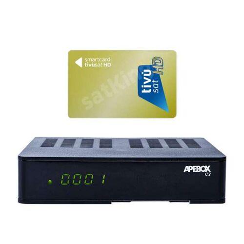 Apebox C2 Full HD 1xDVB-S2 1xDVB-C/T2 Combo IP Receiver mit HD TiVuSat Karte Aktiv