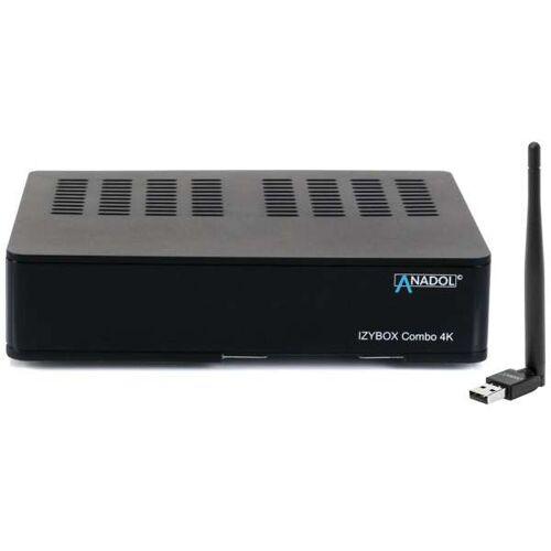Anadol IZYBOX Combo 4K UHD DVB-S2/C/T2 H.265 HEVC HDMI USB WLAN Stick mit Antenne Receiver Schwarz