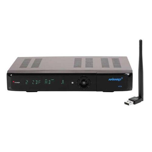 Ankaro AVA Digitaler 4K UHD 3D HDR10 USB HDMI DVB-S2X Satelliten Receiver mit 150Mbit USB WLAN Stick