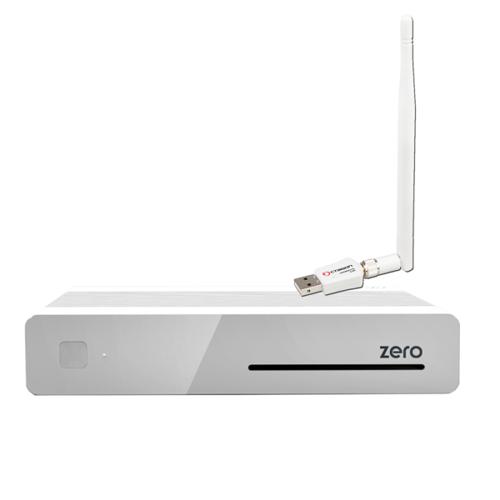 VU+ Plus Zero E2 Linux Full HD Sat 1xDVB-S2 Receiver Weiss + 300Mbit Wlan Stick mit Antenne