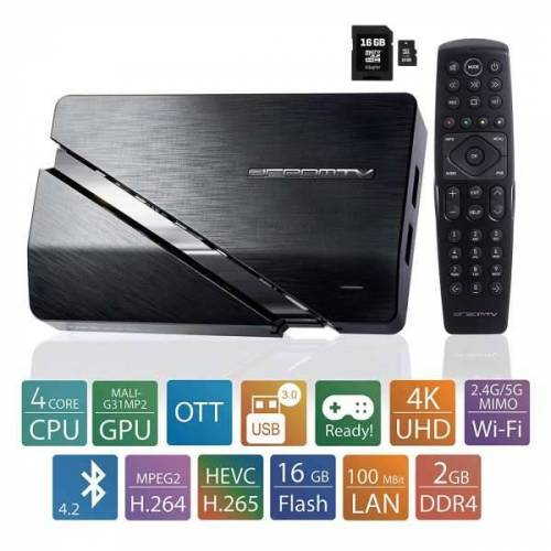 DreamTV Mini Ultra HD Android 9.0 IP Streamer Dual Wlan TV Box mit 16GB SD-Karte