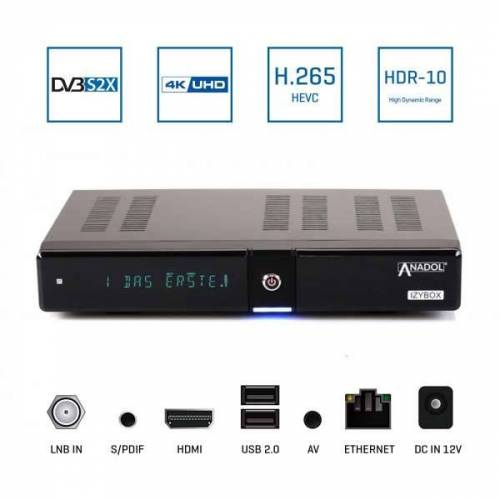 Anadol IZYBOX 4K Ultra HD DVB-S2X Tuner H.265 HEVC HDMI USB LAN Multistream Sat Receiver Schwarz