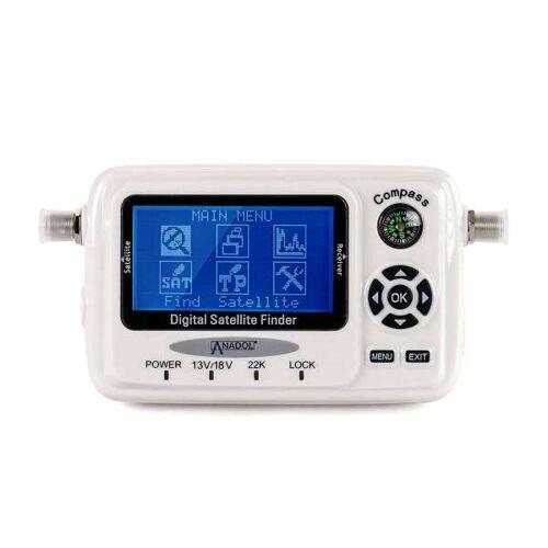 Anadol SF55 Digitaler Satfinder Digitale LCD 3 Zoll LED Display Messgerät mit Ton, Kompass, USB Weiß