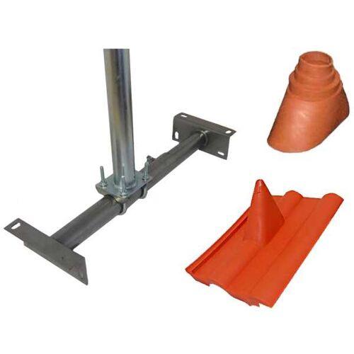 Diverse Dachsparrenhalter Rund Stahl 60mm Dachpfanne Tülle Set Rot