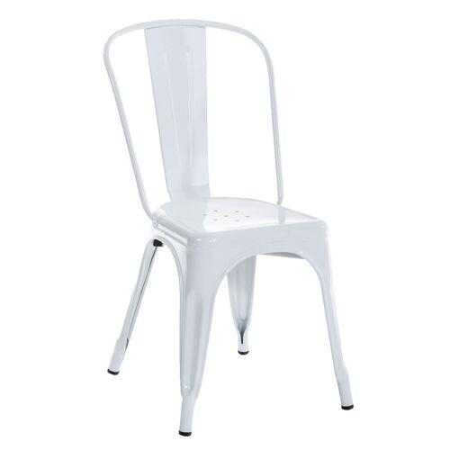 CLP Stapelbarer Metall Stuhl Benedikt-weiß