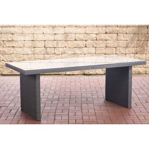 CLP Polyrattan Tisch Avignon-grau/flach-200 cm
