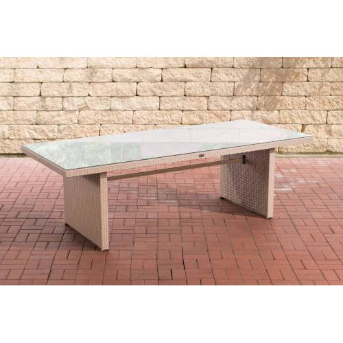 CLP Polyrattan Tisch Avignon-sand-220 cm