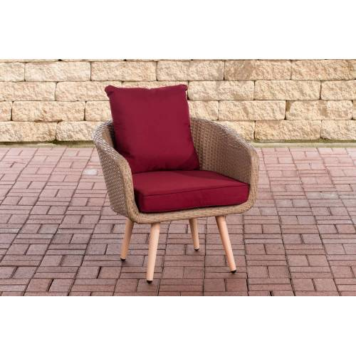 CLP Sessel Ameland Sitzhöhe 40 cm-sand-Rubinrot
