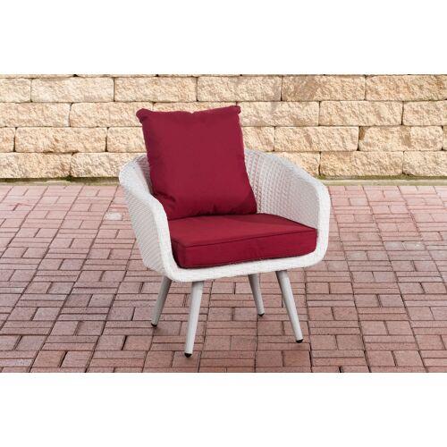 CLP Sessel Ameland Sitzhöhe 40 cm-weiß/flach-Rubinrot
