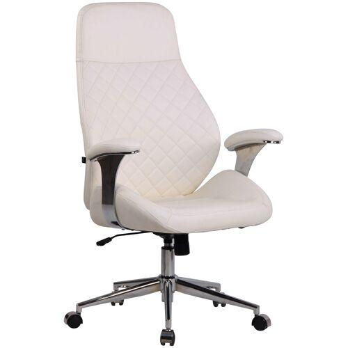 CLP Bürostuhl Layton-weiß-Echtleder